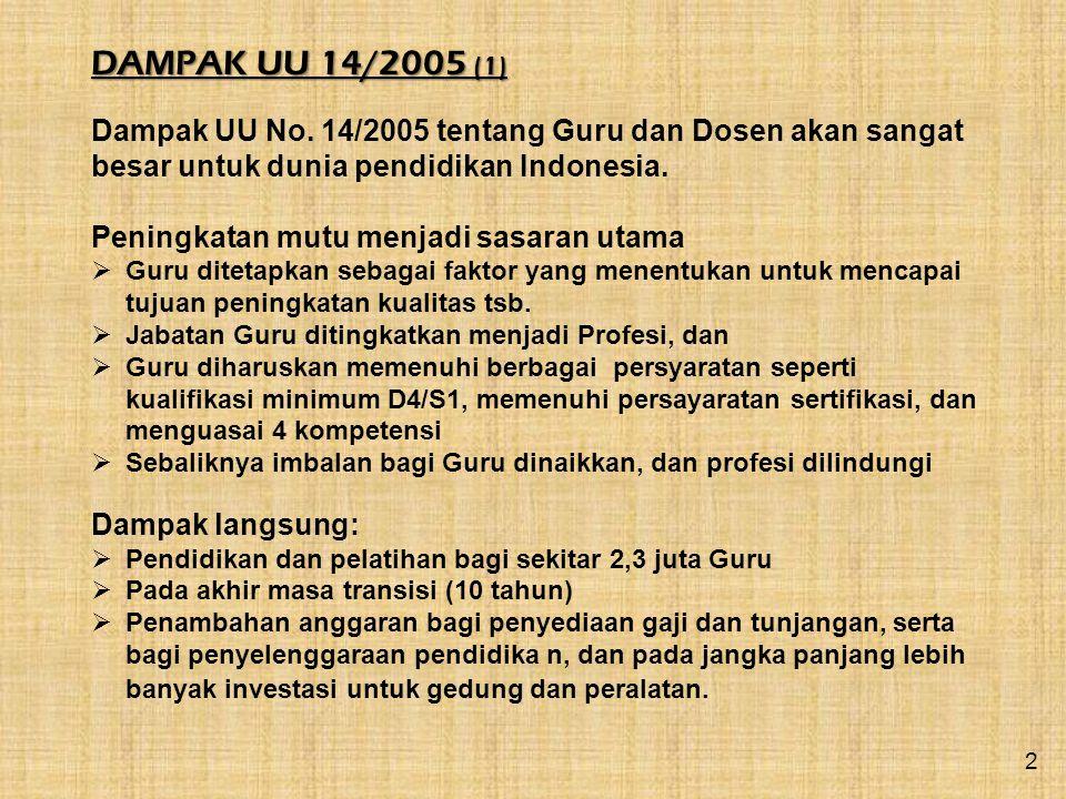 DAMPAK UU 14/2005 (1) Dampak UU No. 14/2005 tentang Guru dan Dosen akan sangat besar untuk dunia pendidikan Indonesia. Peningkatan mutu menjadi sasara