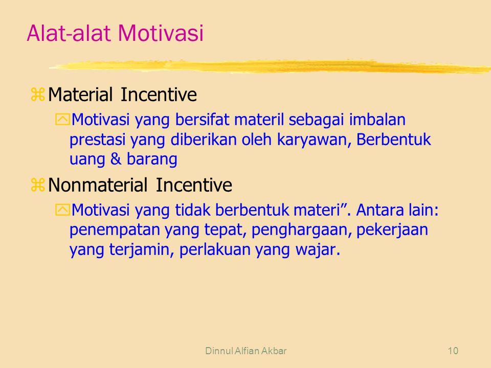 Dinnul Alfian Akbar10 Alat-alat Motivasi zMaterial Incentive yMotivasi yang bersifat materil sebagai imbalan prestasi yang diberikan oleh karyawan, Be