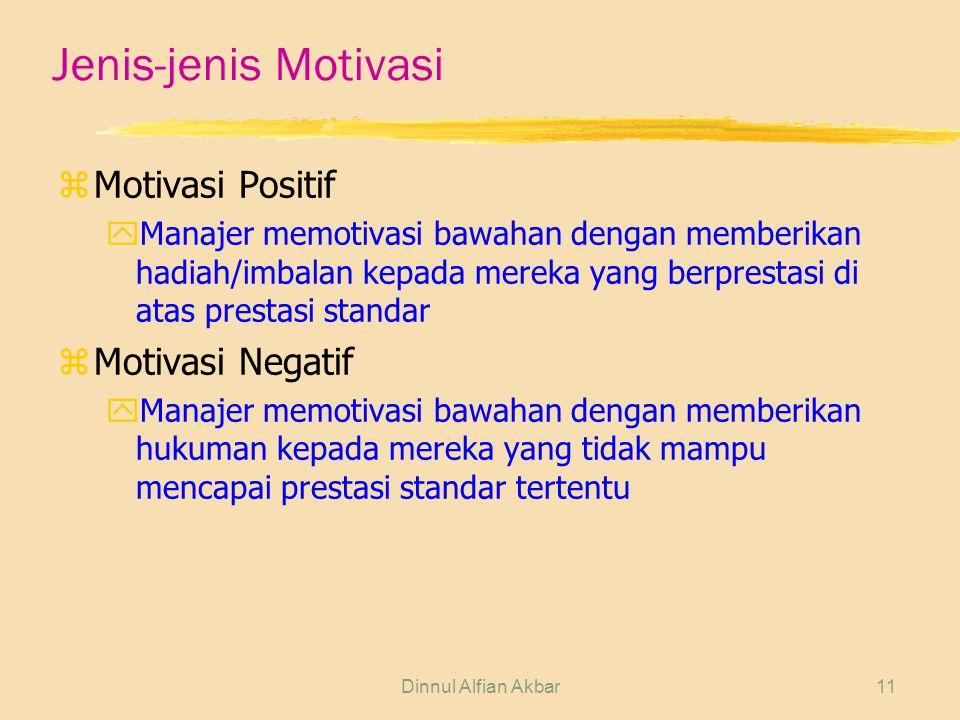Dinnul Alfian Akbar11 Jenis-jenis Motivasi zMotivasi Positif yManajer memotivasi bawahan dengan memberikan hadiah/imbalan kepada mereka yang berpresta