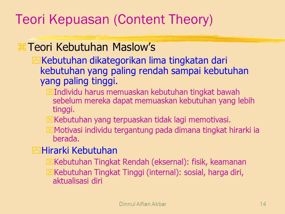 Dinnul Alfian Akbar14 Teori Kepuasan (Content Theory) zTeori Kebutuhan Maslow's yKebutuhan dikategorikan lima tingkatan dari kebutuhan yang paling ren