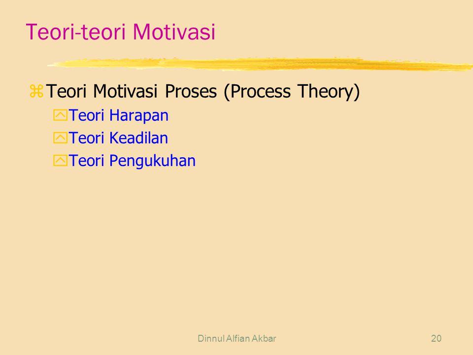 Dinnul Alfian Akbar20 Teori-teori Motivasi zTeori Motivasi Proses (Process Theory) yTeori Harapan yTeori Keadilan yTeori Pengukuhan