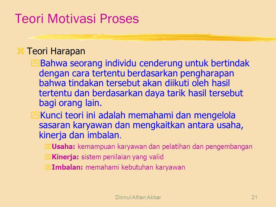 Dinnul Alfian Akbar21 Teori Motivasi Proses zTeori Harapan yBahwa seorang individu cenderung untuk bertindak dengan cara tertentu berdasarkan penghara