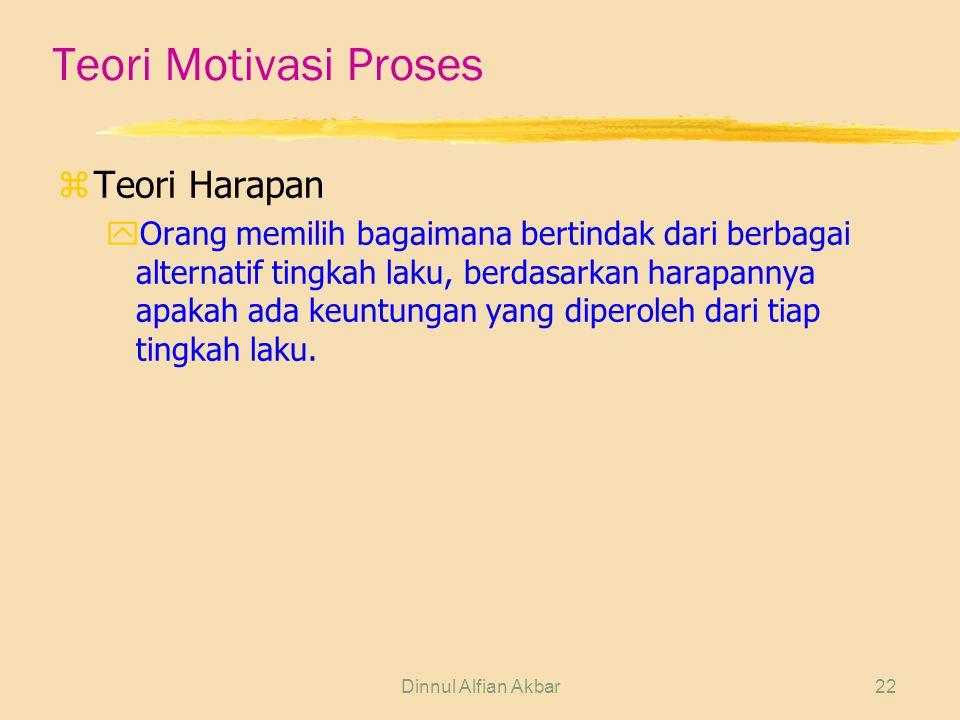 Dinnul Alfian Akbar22 Teori Motivasi Proses zTeori Harapan yOrang memilih bagaimana bertindak dari berbagai alternatif tingkah laku, berdasarkan harap