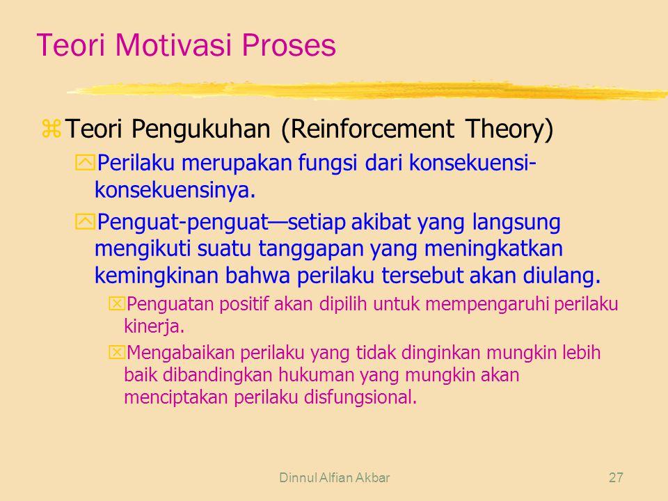 Dinnul Alfian Akbar27 Teori Motivasi Proses zTeori Pengukuhan (Reinforcement Theory) yPerilaku merupakan fungsi dari konsekuensi- konsekuensinya. yPen