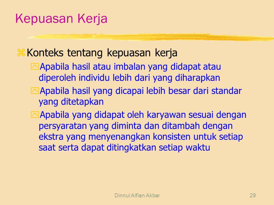 Dinnul Alfian Akbar29 Kepuasan Kerja zKonteks tentang kepuasan kerja yApabila hasil atau imbalan yang didapat atau diperoleh individu lebih dari yang