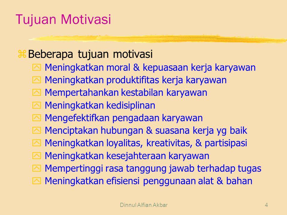 Dinnul Alfian Akbar4 Tujuan Motivasi zBeberapa tujuan motivasi y Meningkatkan moral & kepuasaan kerja karyawan y Meningkatkan produktifitas kerja kary