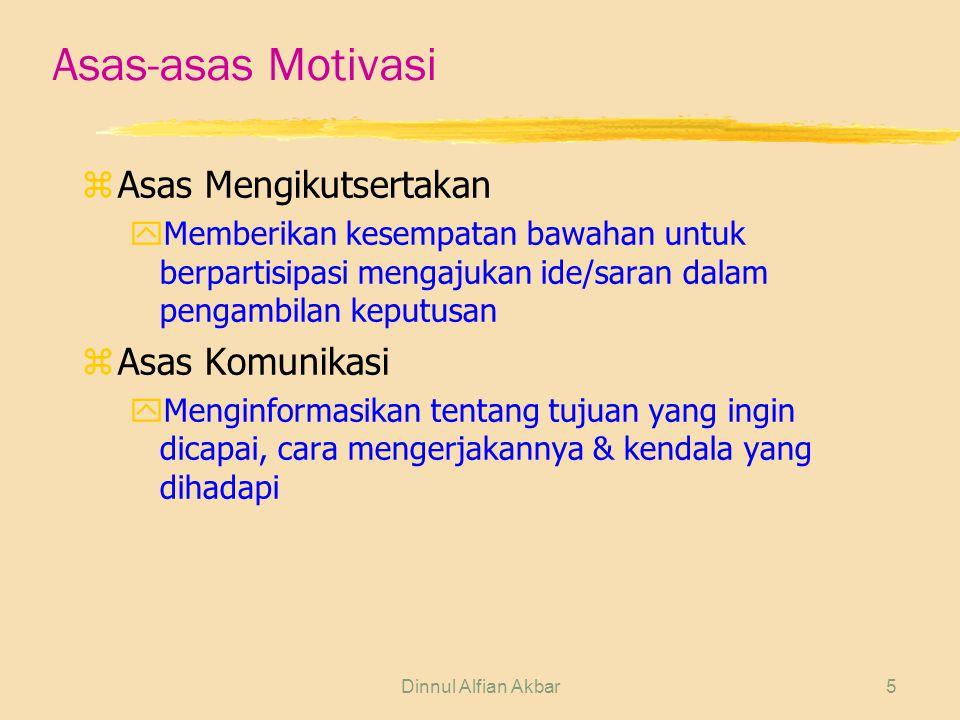Dinnul Alfian Akbar5 Asas-asas Motivasi zAsas Mengikutsertakan yMemberikan kesempatan bawahan untuk berpartisipasi mengajukan ide/saran dalam pengambi