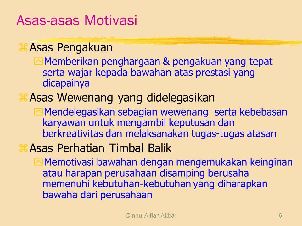 Dinnul Alfian Akbar6 Asas-asas Motivasi zAsas Pengakuan yMemberikan penghargaan & pengakuan yang tepat serta wajar kepada bawahan atas prestasi yang d