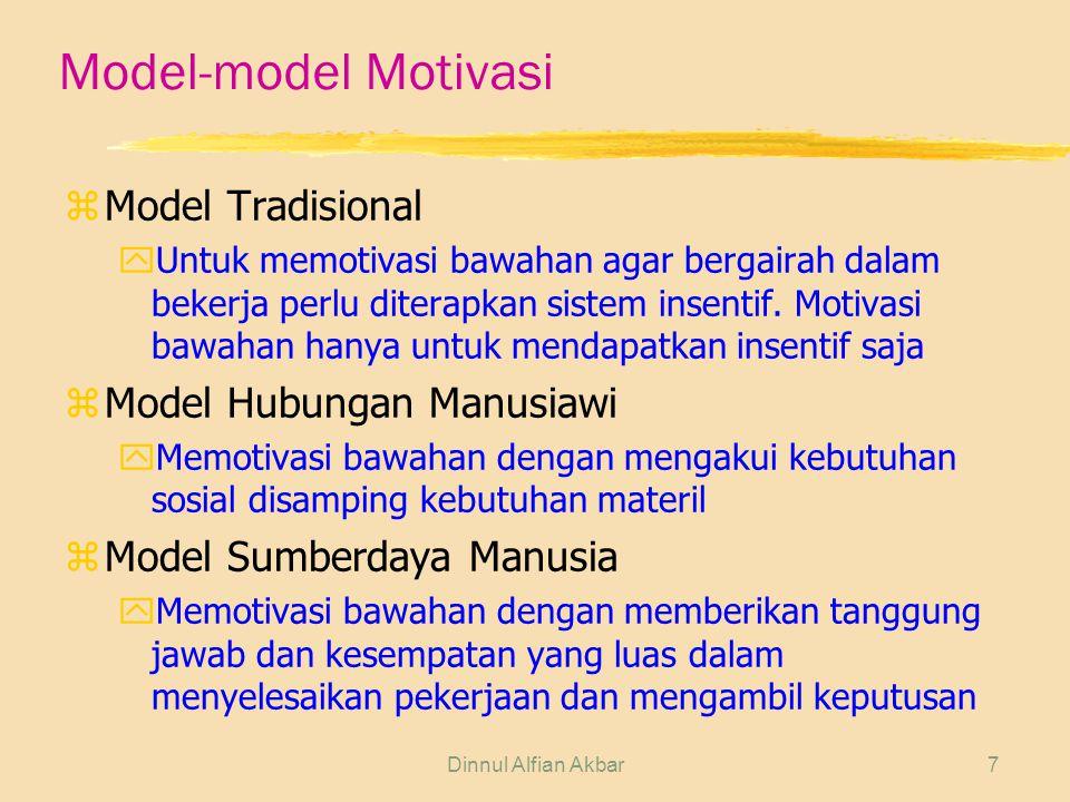 Dinnul Alfian Akbar7 Model-model Motivasi zModel Tradisional yUntuk memotivasi bawahan agar bergairah dalam bekerja perlu diterapkan sistem insentif.