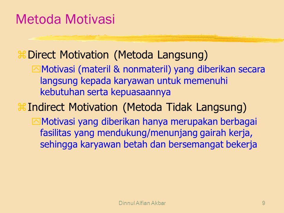 Dinnul Alfian Akbar9 Metoda Motivasi zDirect Motivation (Metoda Langsung) yMotivasi (materil & nonmateril) yang diberikan secara langsung kepada karya