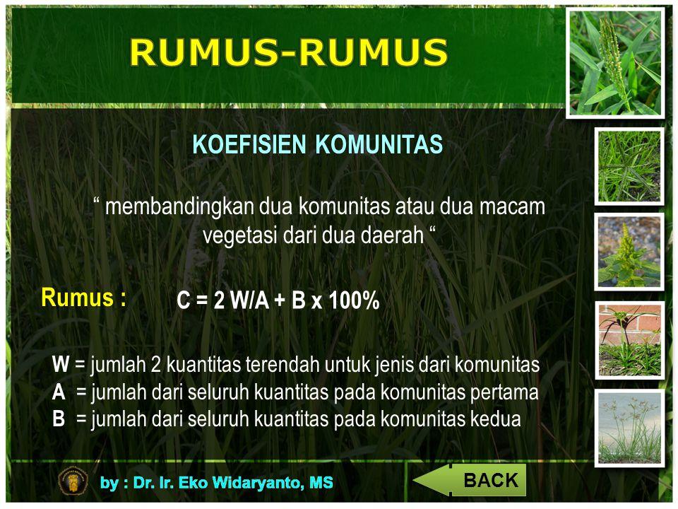 """KOEFISIEN KOMUNITAS """" membandingkan dua komunitas atau dua macam vegetasi dari dua daerah """" Rumus : C = 2 W/A + B x 100% W = jumlah 2 kuantitas terend"""