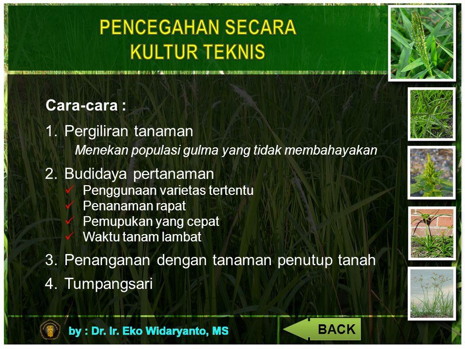 Cara-cara : 1.Pergiliran tanaman Menekan populasi gulma yang tidak membahayakan 2.Budidaya pertanaman Penggunaan varietas tertentu Penanaman rapat Pem