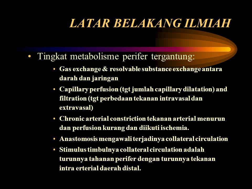 LATAR BELAKANG ILMIAH Tingkat metabolisme perifer tergantung: Gas exchange & resolvable substance exchange antara darah dan jaringan Capillary perfusi