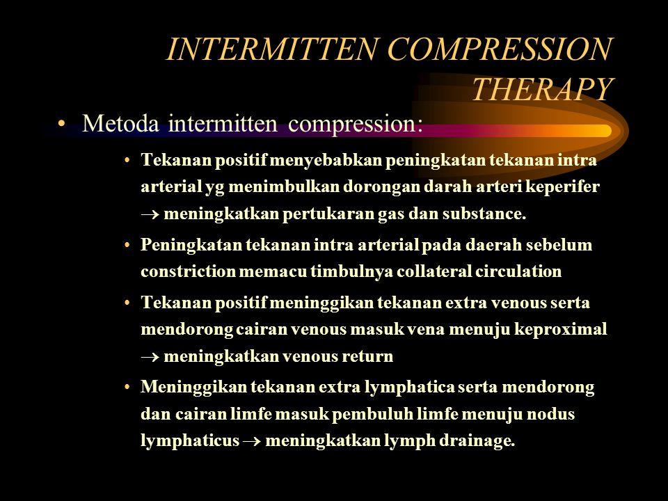 INTERMITTEN COMPRESSION THERAPY Metoda intermitten compression: Tekanan positif menyebabkan peningkatan tekanan intra arterial yg menimbulkan dorongan