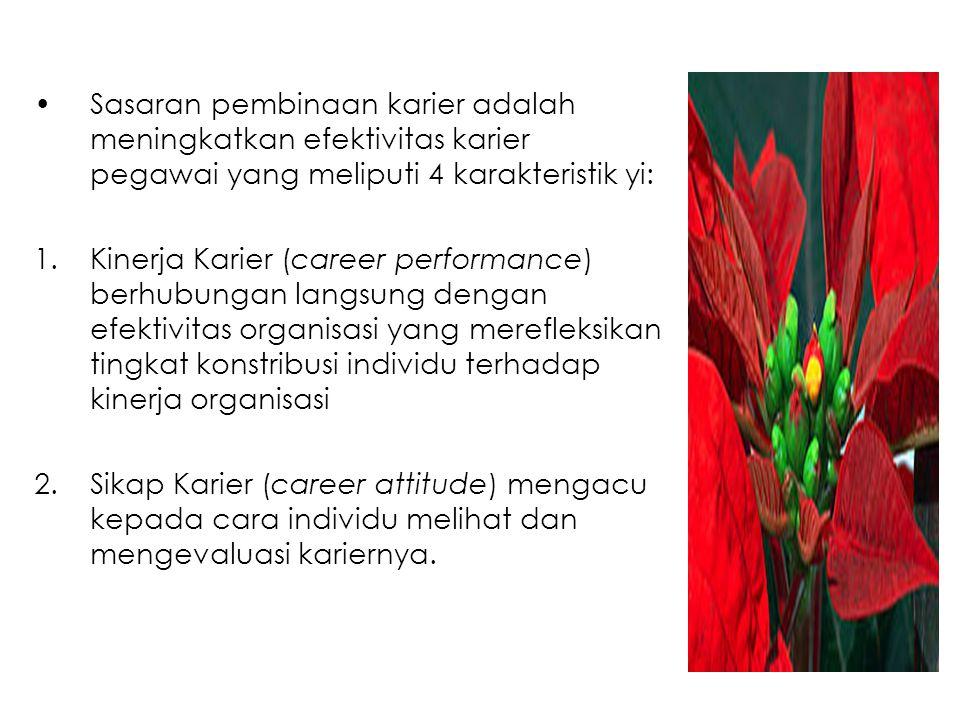 Sasaran pembinaan karier adalah meningkatkan efektivitas karier pegawai yang meliputi 4 karakteristik yi: 1.Kinerja Karier (career performance) berhub