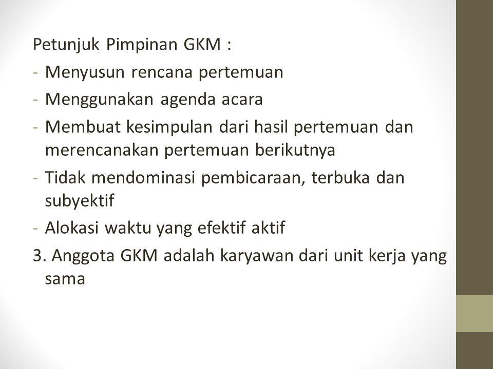 Petunjuk Pimpinan GKM : -Menyusun rencana pertemuan -Menggunakan agenda acara -Membuat kesimpulan dari hasil pertemuan dan merencanakan pertemuan beri