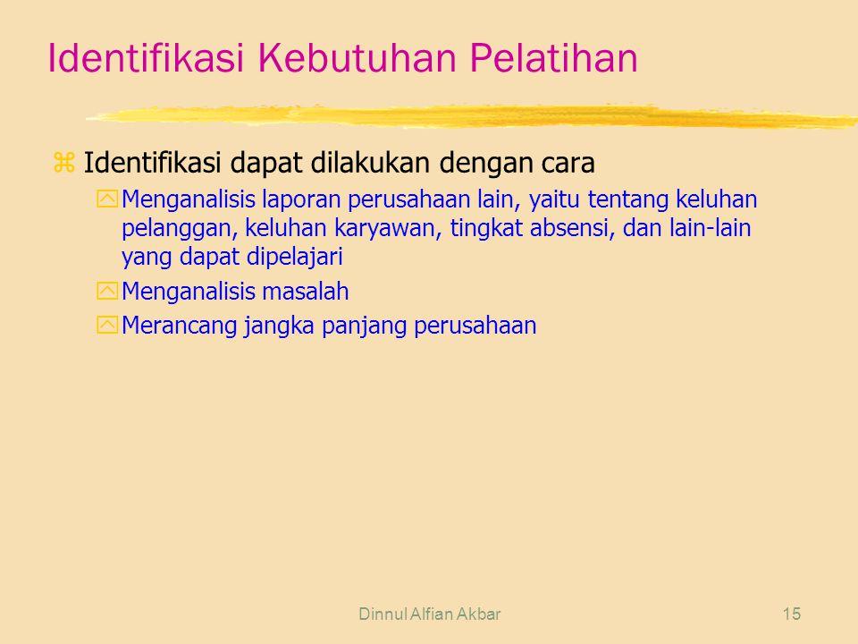 Dinnul Alfian Akbar15 Identifikasi Kebutuhan Pelatihan zIdentifikasi dapat dilakukan dengan cara yMenganalisis laporan perusahaan lain, yaitu tentang keluhan pelanggan, keluhan karyawan, tingkat absensi, dan lain-lain yang dapat dipelajari yMenganalisis masalah yMerancang jangka panjang perusahaan