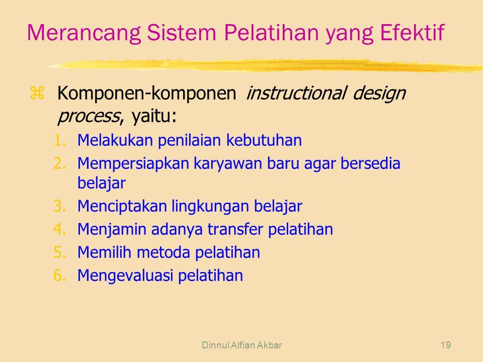 Dinnul Alfian Akbar19 Merancang Sistem Pelatihan yang Efektif zKomponen-komponen instructional design process, yaitu: 1.Melakukan penilaian kebutuhan