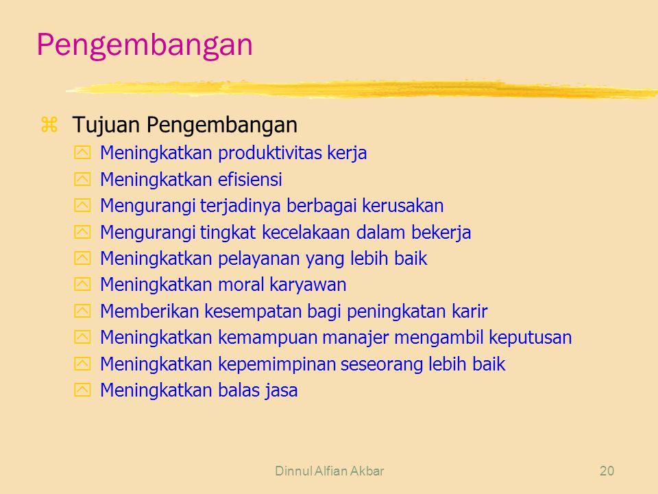 Dinnul Alfian Akbar20 Pengembangan zTujuan Pengembangan yMeningkatkan produktivitas kerja yMeningkatkan efisiensi yMengurangi terjadinya berbagai keru