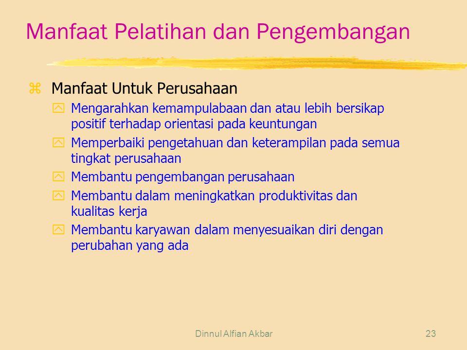 Dinnul Alfian Akbar23 Manfaat Pelatihan dan Pengembangan zManfaat Untuk Perusahaan yMengarahkan kemampulabaan dan atau lebih bersikap positif terhadap