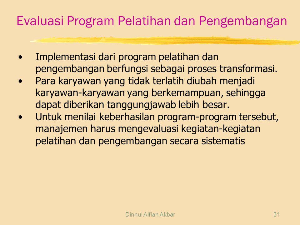 Dinnul Alfian Akbar31 Evaluasi Program Pelatihan dan Pengembangan Implementasi dari program pelatihan dan pengembangan berfungsi sebagai proses transformasi.