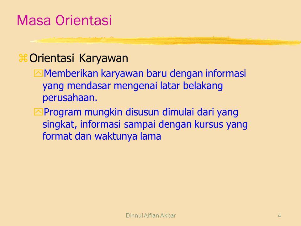 Dinnul Alfian Akbar4 Masa Orientasi zOrientasi Karyawan yMemberikan karyawan baru dengan informasi yang mendasar mengenai latar belakang perusahaan. y
