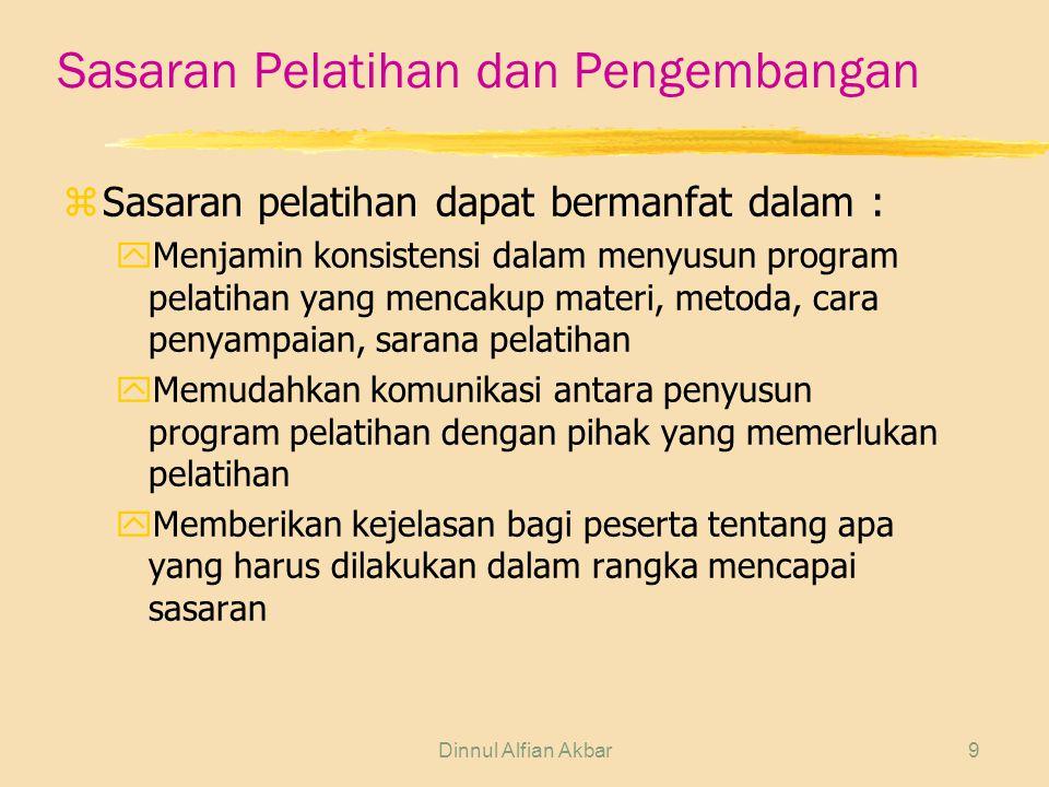 Dinnul Alfian Akbar9 Sasaran Pelatihan dan Pengembangan zSasaran pelatihan dapat bermanfat dalam : yMenjamin konsistensi dalam menyusun program pelati