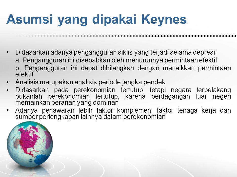 Asumsi yang dipakai Keynes Didasarkan adanya pengangguran siklis yang terjadi selama depresi: a.