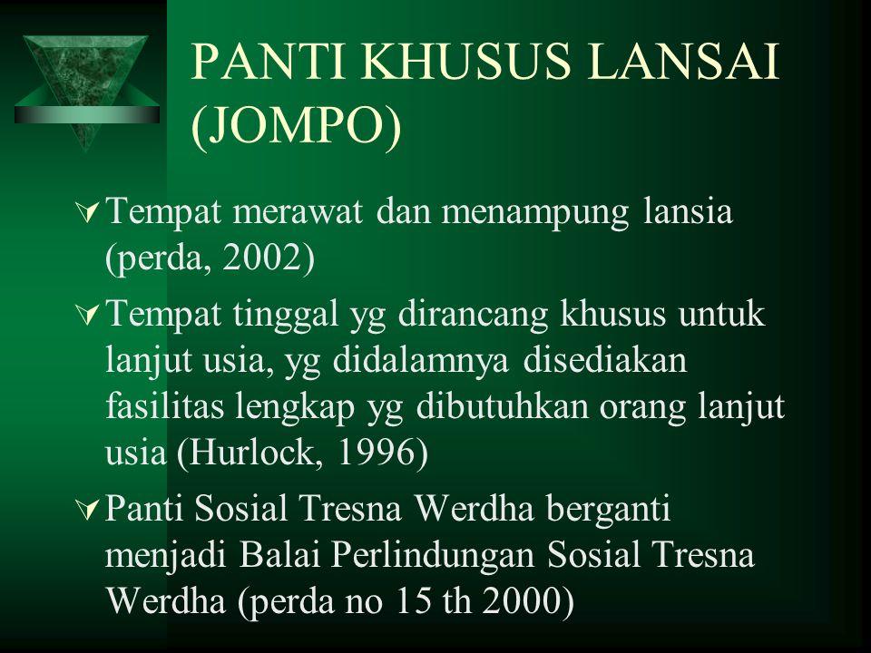 Pelayanan Kesehatan Lanjut Usia  Panti (Balai Perlindungan Sosial Tresna Werdha)  RS Lansia  Posbindu