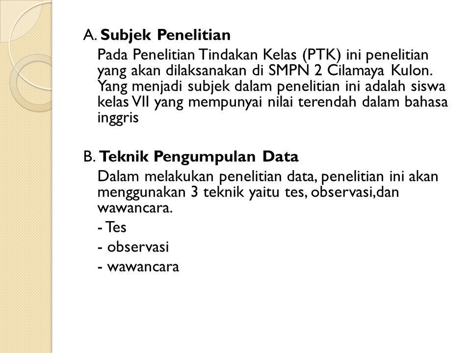A. Subjek Penelitian Pada Penelitian Tindakan Kelas (PTK) ini penelitian yang akan dilaksanakan di SMPN 2 Cilamaya Kulon. Yang menjadi subjek dalam pe