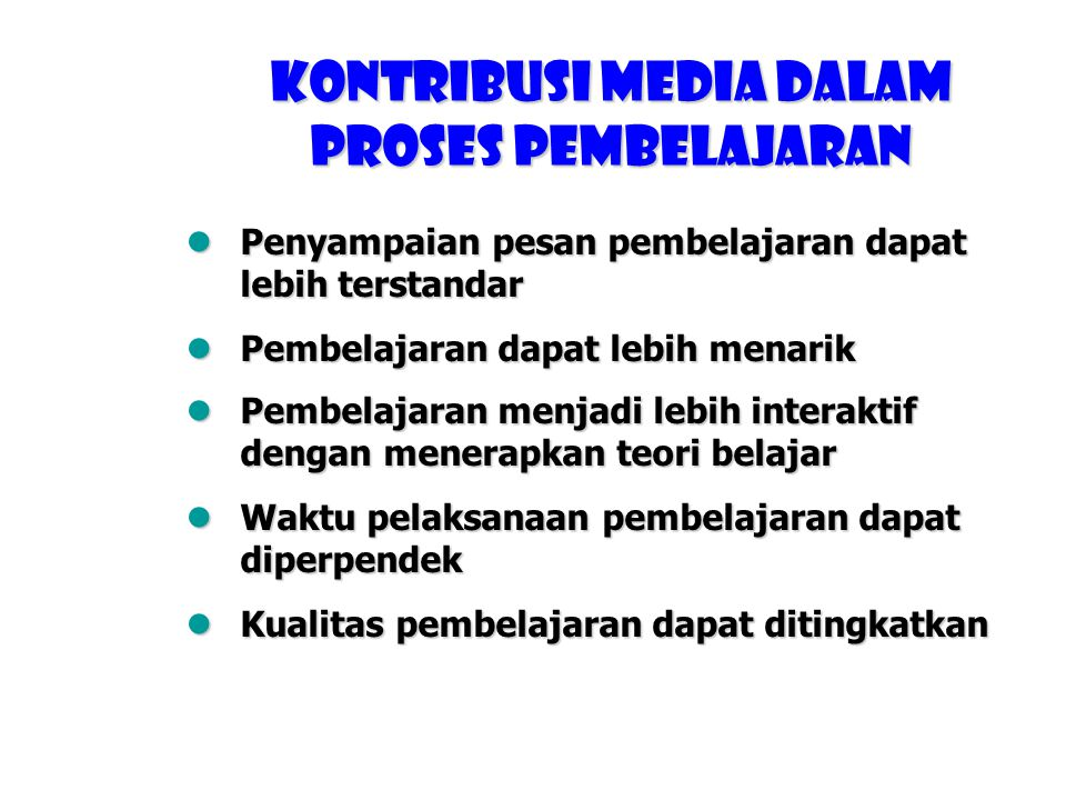 Tingkat kemampuan daya ingat Media% Audio10 Verbal (teks, visual) 20 Audio-Visual50