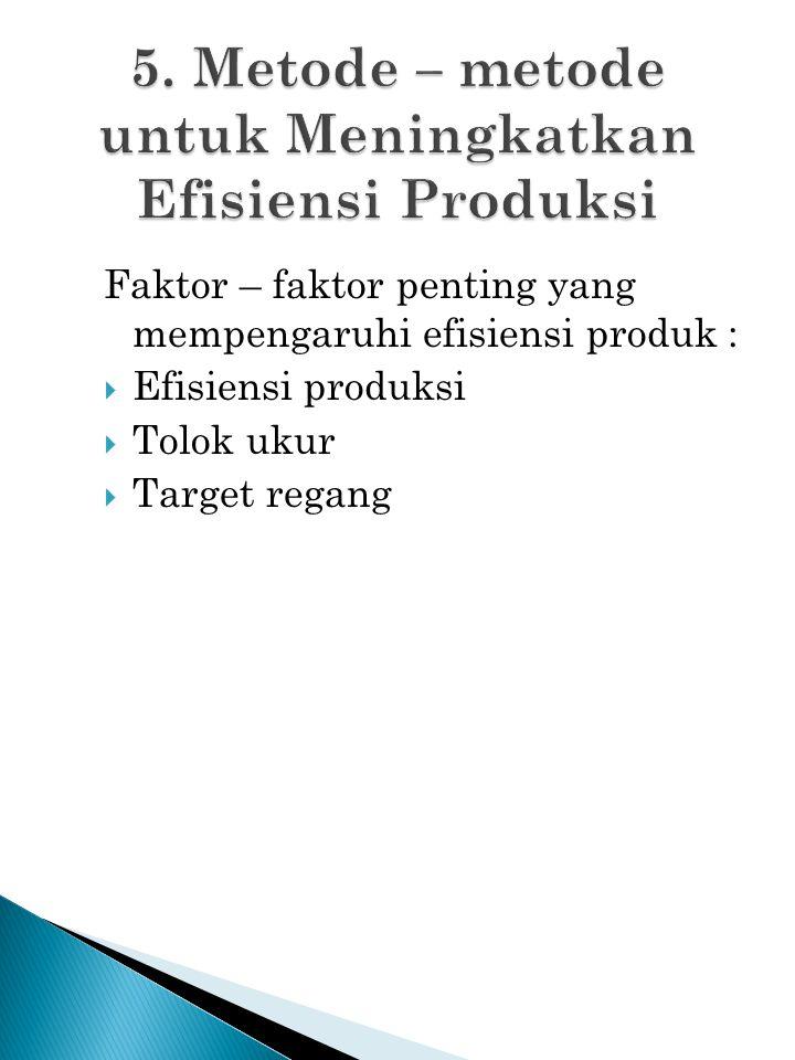 Faktor – faktor penting yang mempengaruhi efisiensi produk :  Efisiensi produksi  Tolok ukur  Target regang