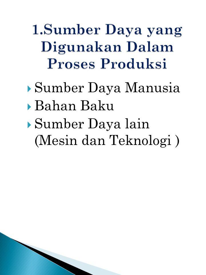  Sumber Daya Manusia  Bahan Baku  Sumber Daya lain (Mesin dan Teknologi )