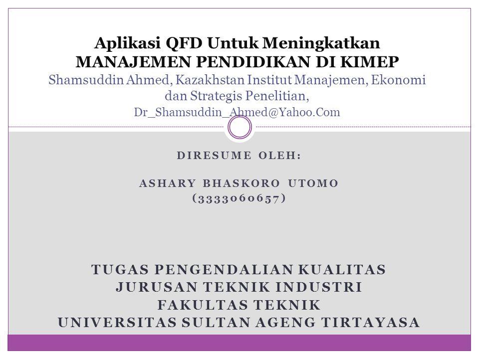 Aplikasi QFD Untuk Meningkatkan MANAJEMEN PENDIDIKAN DI KIMEP Shamsuddin Ahmed, Kazakhstan Institut Manajemen, Ekonomi dan Strategis Penelitian, Dr_Sh