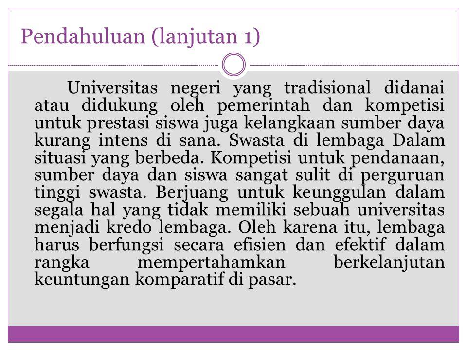 Pendahuluan (lanjutan 1) Universitas negeri yang tradisional didanai atau didukung oleh pemerintah dan kompetisi untuk prestasi siswa juga kelangkaan