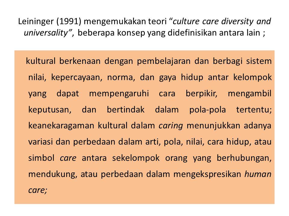 """Leininger (1991) mengemukakan teori """"culture care diversity and universality"""", beberapa konsep yang didefinisikan antara lain ; kultural berkenaan den"""