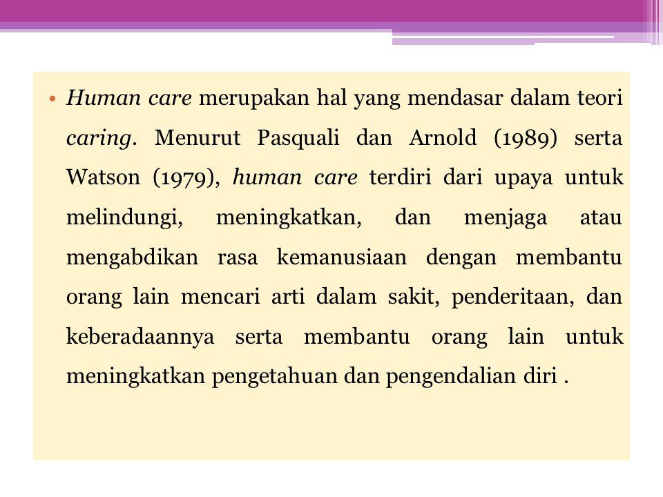  Watson (1979) yang terkenal dengan Theory of Human Care, mempertegas bahwa caring sebagai jenis hubungan dan transaksi yang diperlukan antara pemberi dan penerima asuhan untuk meningkatkan dan melindungi pasien sebagai manusia, dengan demikian mempengaruhi kesanggupan pasien untuk sembuh.
