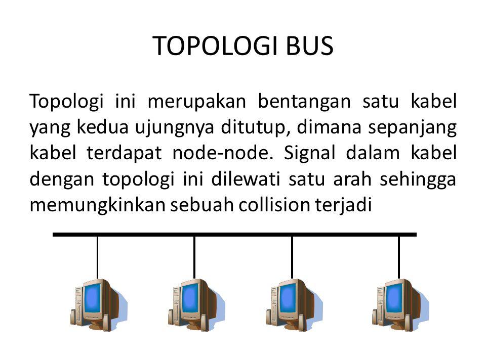 TOPOLOGI BUS Topologi ini merupakan bentangan satu kabel yang kedua ujungnya ditutup, dimana sepanjang kabel terdapat node-node. Signal dalam kabel de