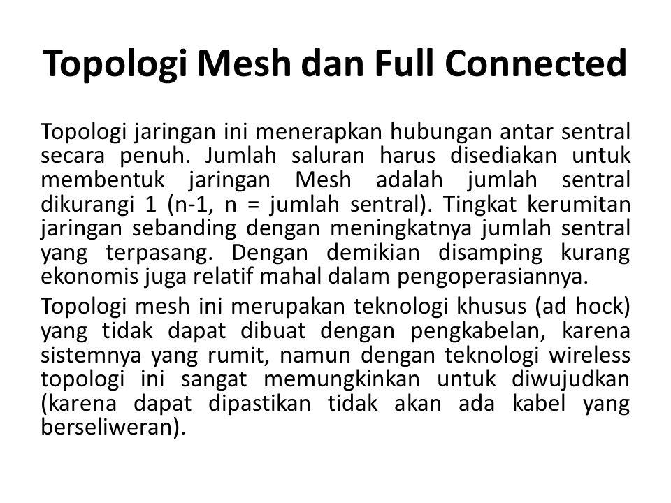 Topologi Mesh dan Full Connected Topologi jaringan ini menerapkan hubungan antar sentral secara penuh. Jumlah saluran harus disediakan untuk membentuk