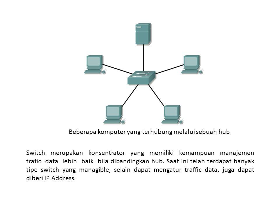 Beberapa komputer yang terhubung melalui sebuah hub Switch merupakan konsentrator yang memiliki kemampuan manajemen trafic data lebih baik bila diband