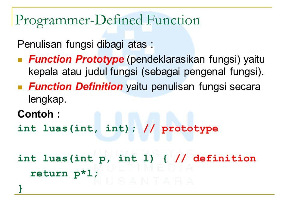 Programmer-Defined Function Penulisan fungsi dibagi atas : Function Prototype (pendeklarasikan fungsi) yaitu kepala atau judul fungsi (sebagai pengenal fungsi).