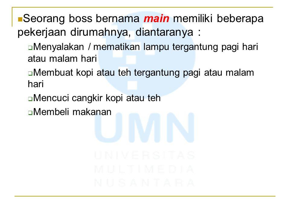 Karena pekerjaan membuat boss repot, boss mempekerjakan 4 orang staff untuk mengerjakan keempat pekerjaan tersebut.