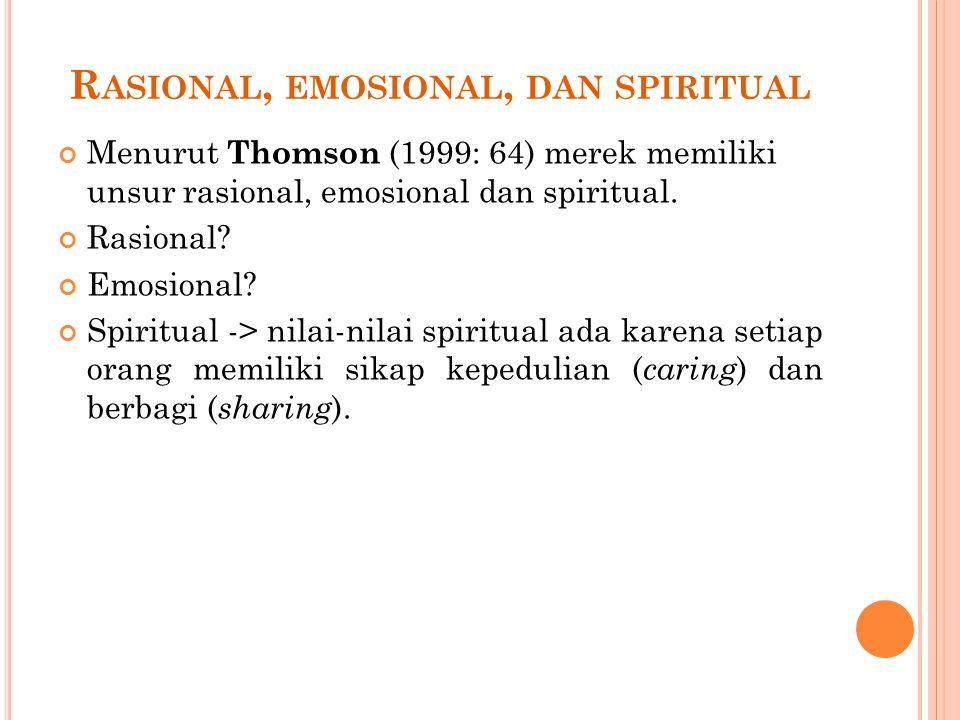 R ASIONAL, EMOSIONAL, DAN SPIRITUAL Menurut Thomson (1999: 64) merek memiliki unsur rasional, emosional dan spiritual. Rasional? Emosional? Spiritual