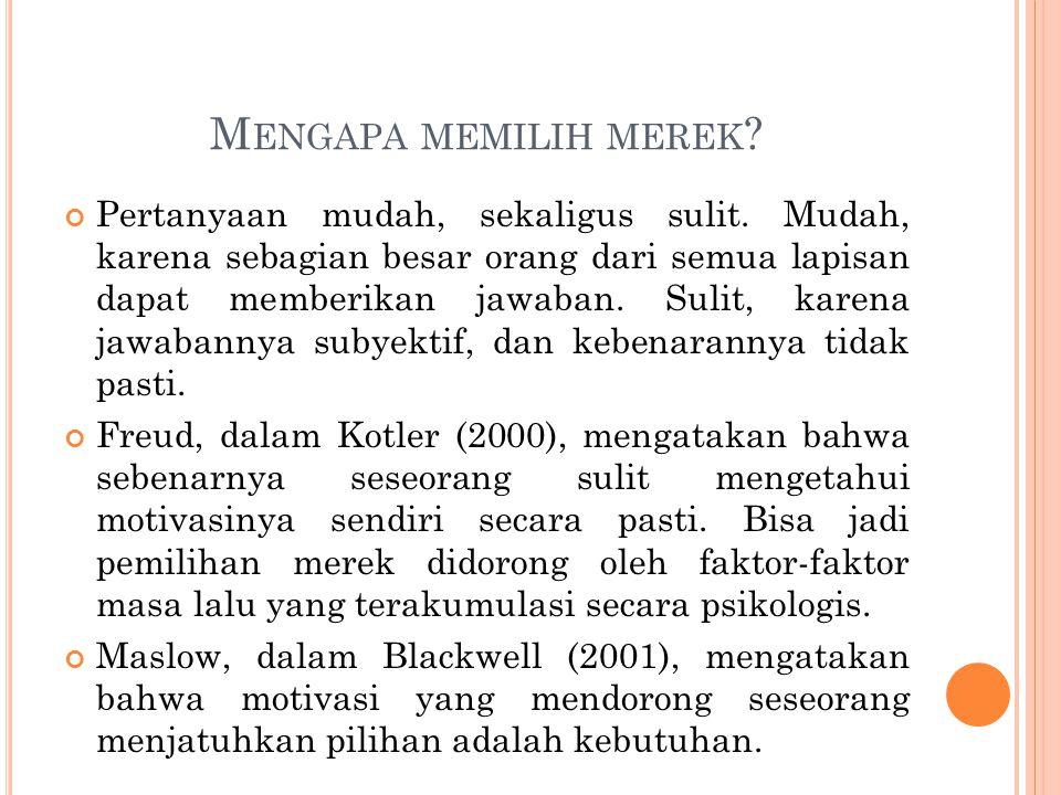 M ENGAPA MEMILIH MEREK ? Pertanyaan mudah, sekaligus sulit. Mudah, karena sebagian besar orang dari semua lapisan dapat memberikan jawaban. Sulit, kar