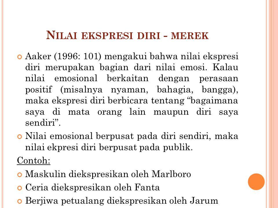 N ILAI EKSPRESI DIRI - MEREK Aaker (1996: 101) mengakui bahwa nilai ekspresi diri merupakan bagian dari nilai emosi. Kalau nilai emosional berkaitan d