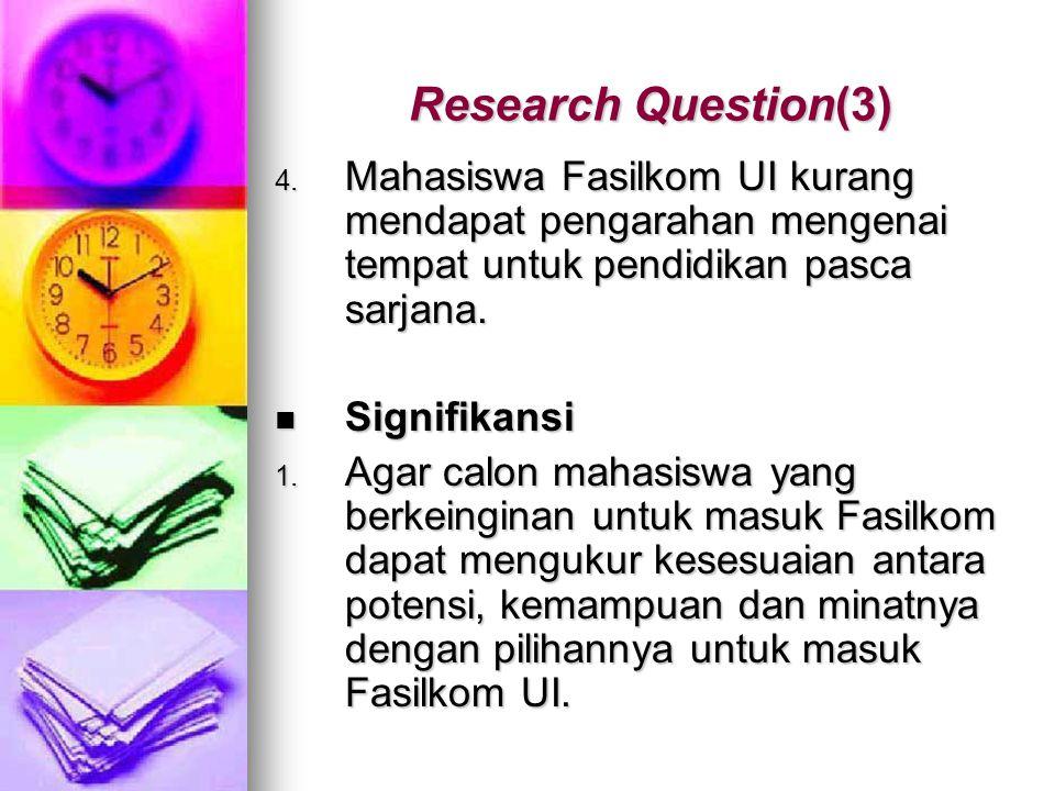 Research Question(3) 4. Mahasiswa Fasilkom UI kurang mendapat pengarahan mengenai tempat untuk pendidikan pasca sarjana. Signifikansi Signifikansi 1.