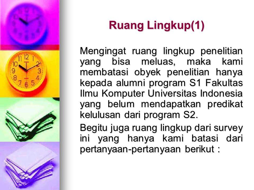 Ruang Lingkup(1) Mengingat ruang lingkup penelitian yang bisa meluas, maka kami membatasi obyek penelitian hanya kepada alumni program S1 Fakultas Ilmu Komputer Universitas Indonesia yang belum mendapatkan predikat kelulusan dari program S2.