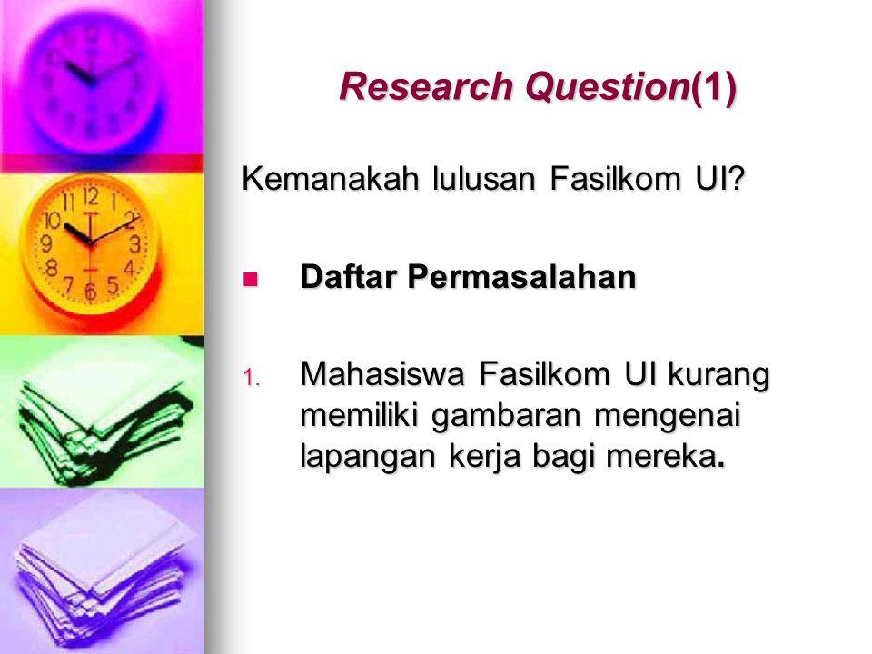 Research Question(1) Kemanakah lulusan Fasilkom UI? Daftar Permasalahan Daftar Permasalahan 1. Mahasiswa Fasilkom UI kurang memiliki gambaran mengenai