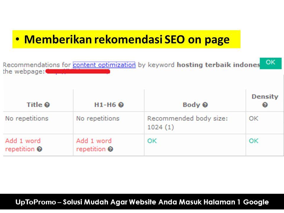 Memberikan rekomendasi SEO on page UpToPromo – Solusi Mudah Agar Website Anda Masuk Halaman 1 Google
