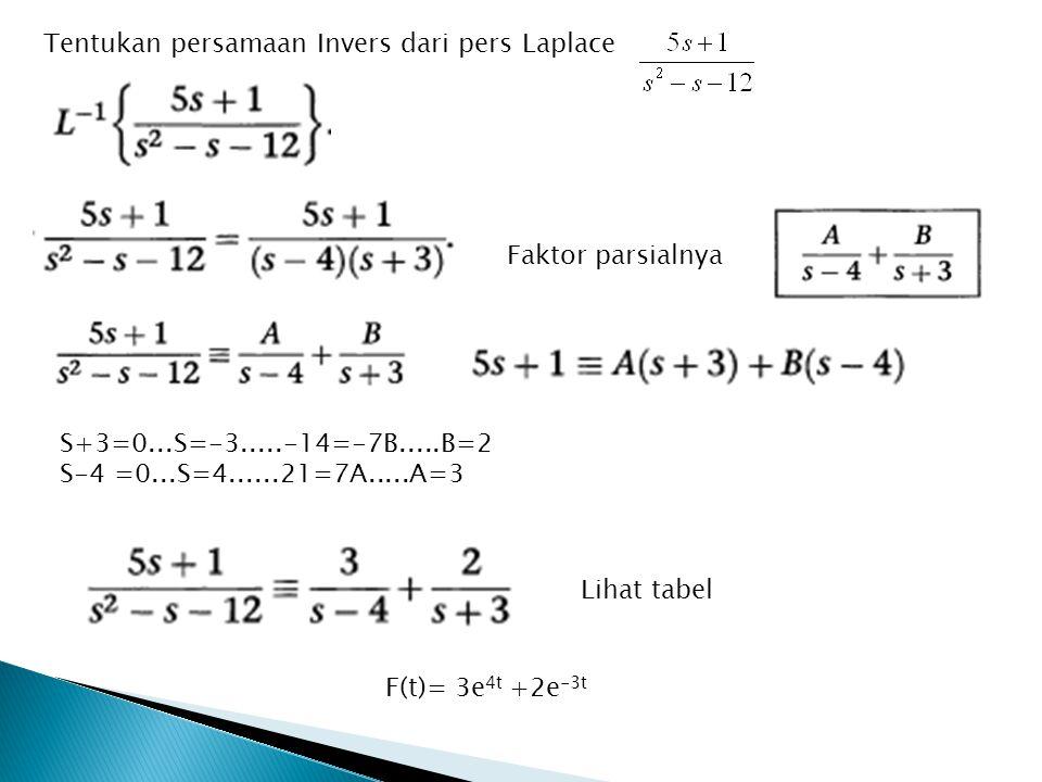 S+3=0...S=-3.....-14=-7B.....B=2 S-4 =0...S=4......21=7A.....A=3 Tentukan persamaan Invers dari pers Laplace Faktor parsialnya Lihat tabel F(t)= 3e 4t +2e -3t